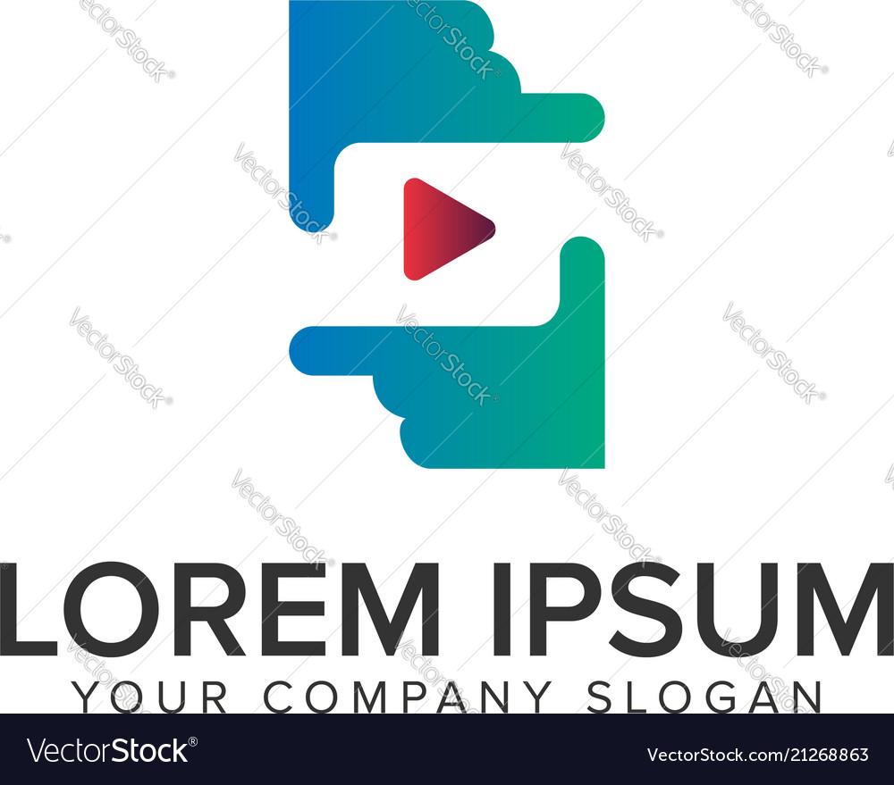 Hand media play logo design concept template