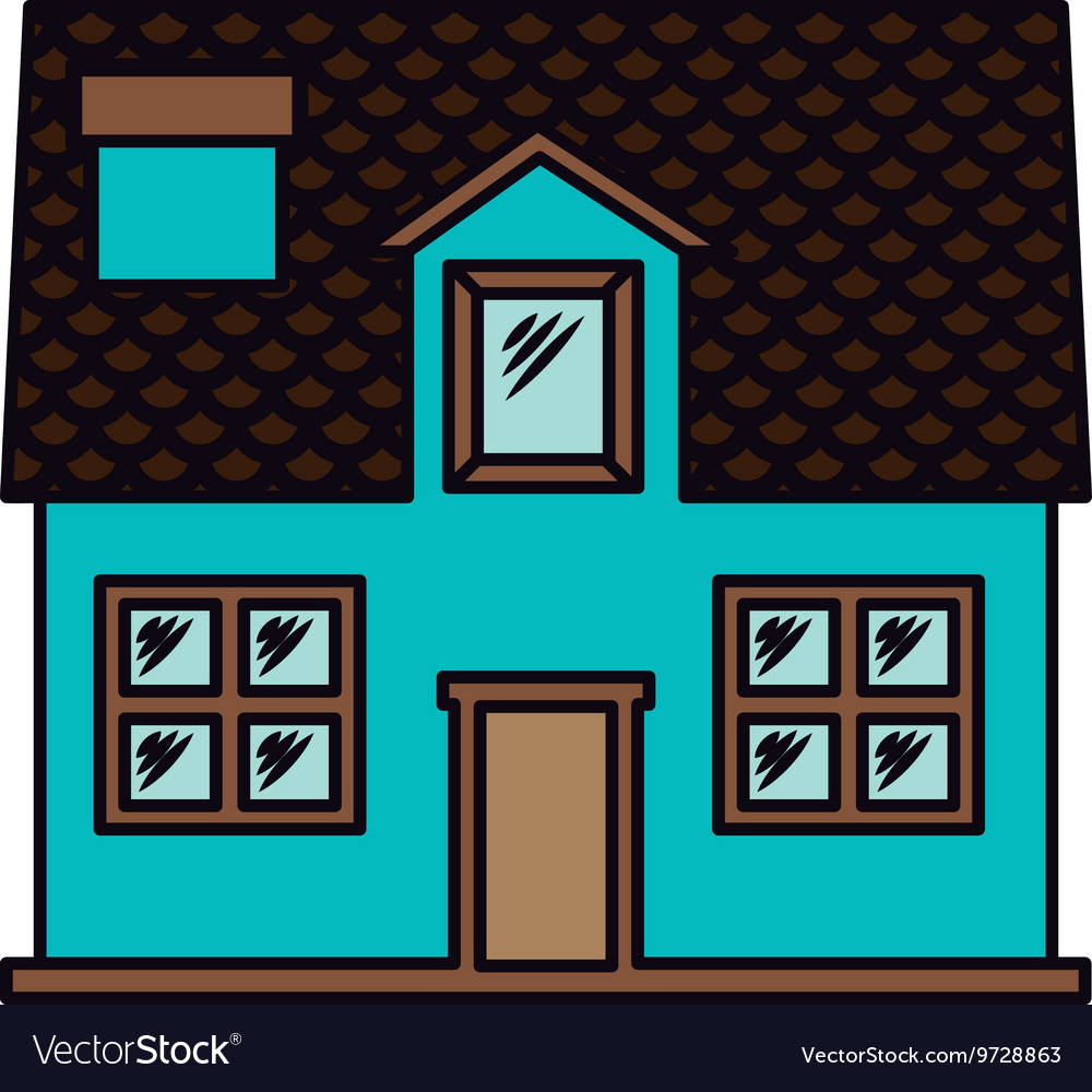 House exterior front isolated icon design