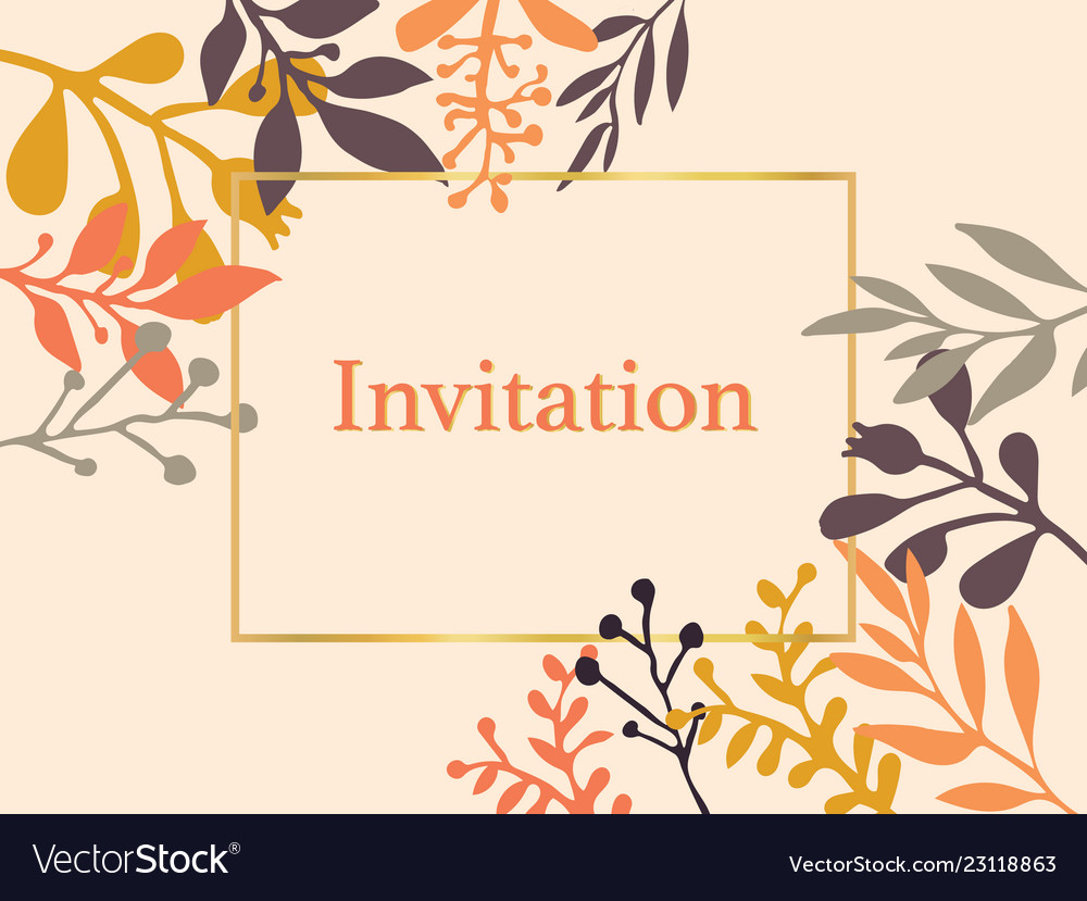 Invitation card leaves orange