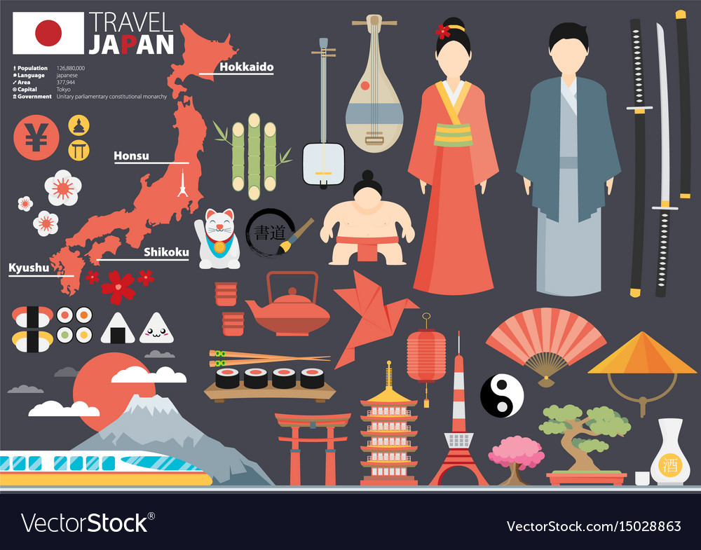 Japan flat icons design travel concept