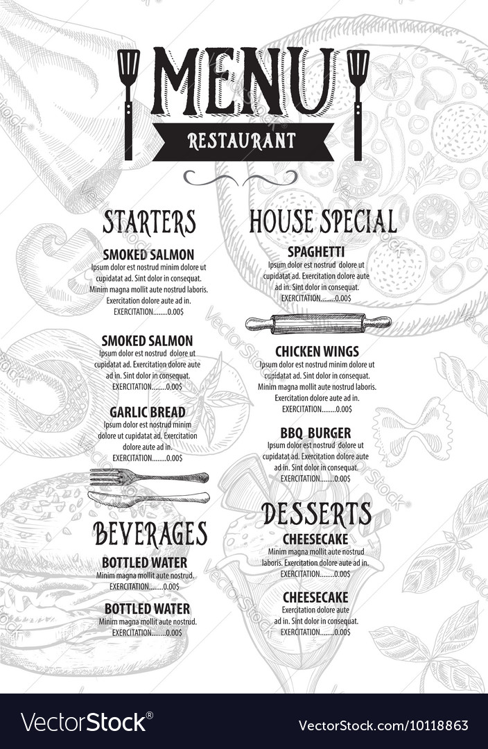 Menu Cafe Restaurant Template Placemat Food Board