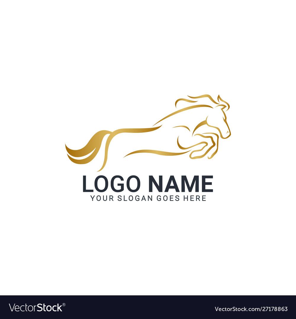 Modern Gold Abstract Horse Logo Design Animal Vector Image