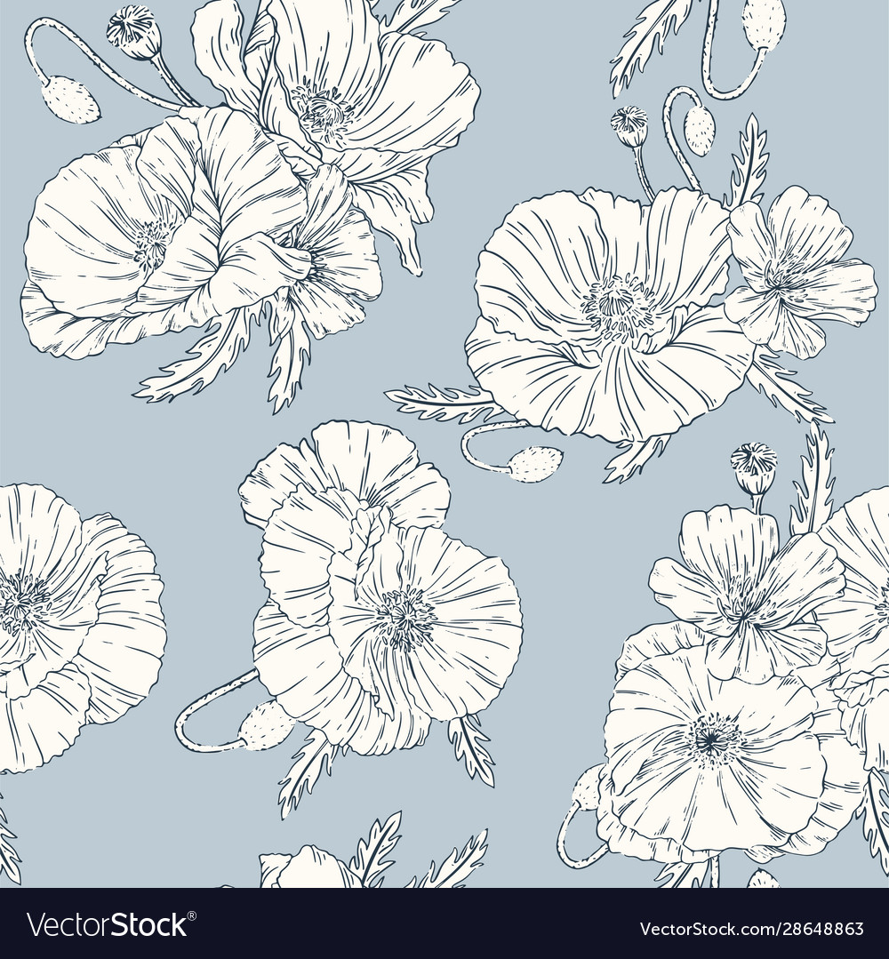 Poppies seamless pattern blue background