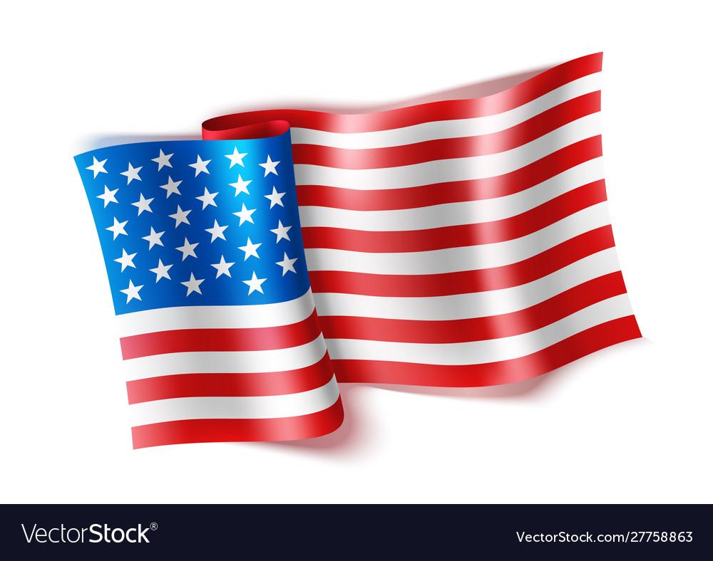 Realistic waved american flag 4 july