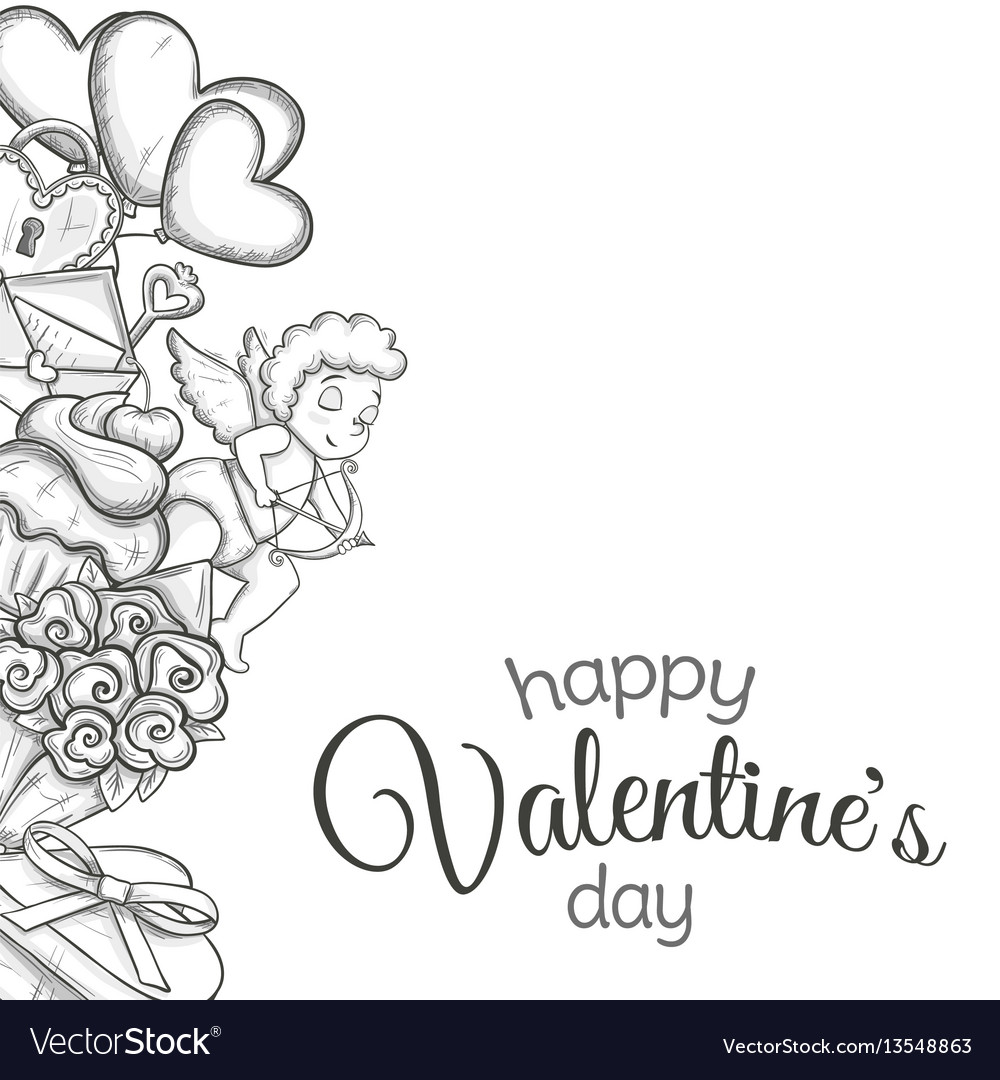 Side vertical border with sketch valentines day