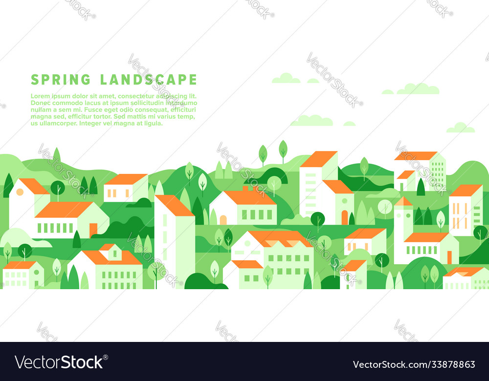 Spring cityscape in simple minimal geometric flat