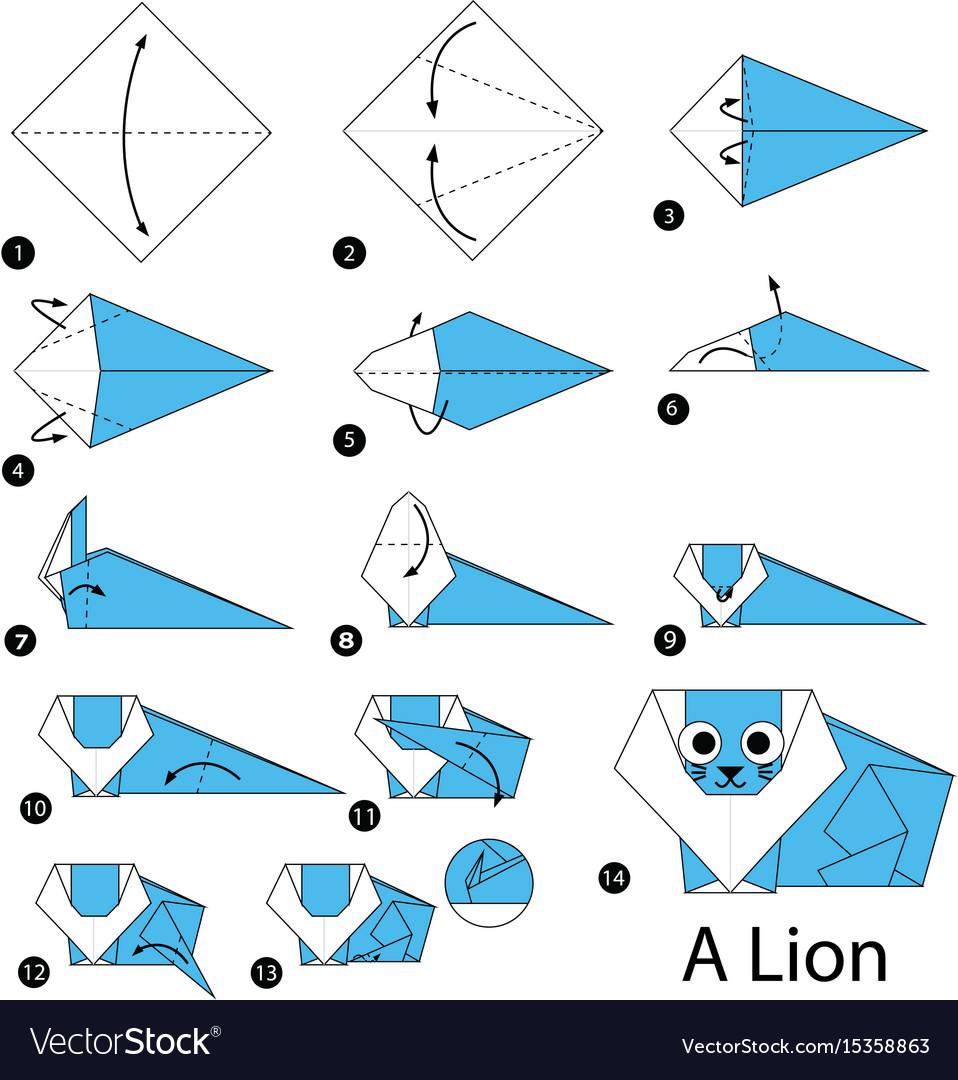 Easy Origami Lion Folding Instructions | Origami Instruction | 1080x958