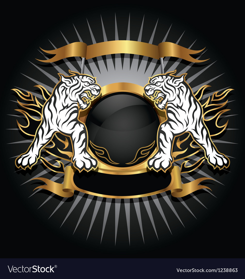 Tiger gold emblem vector image
