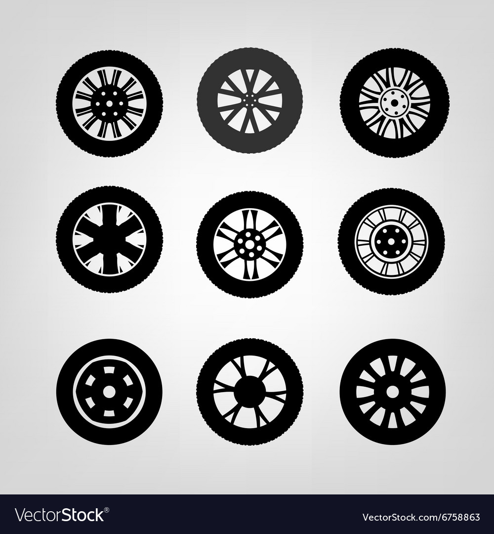 tires icons 03 a royalty free vector image vectorstock