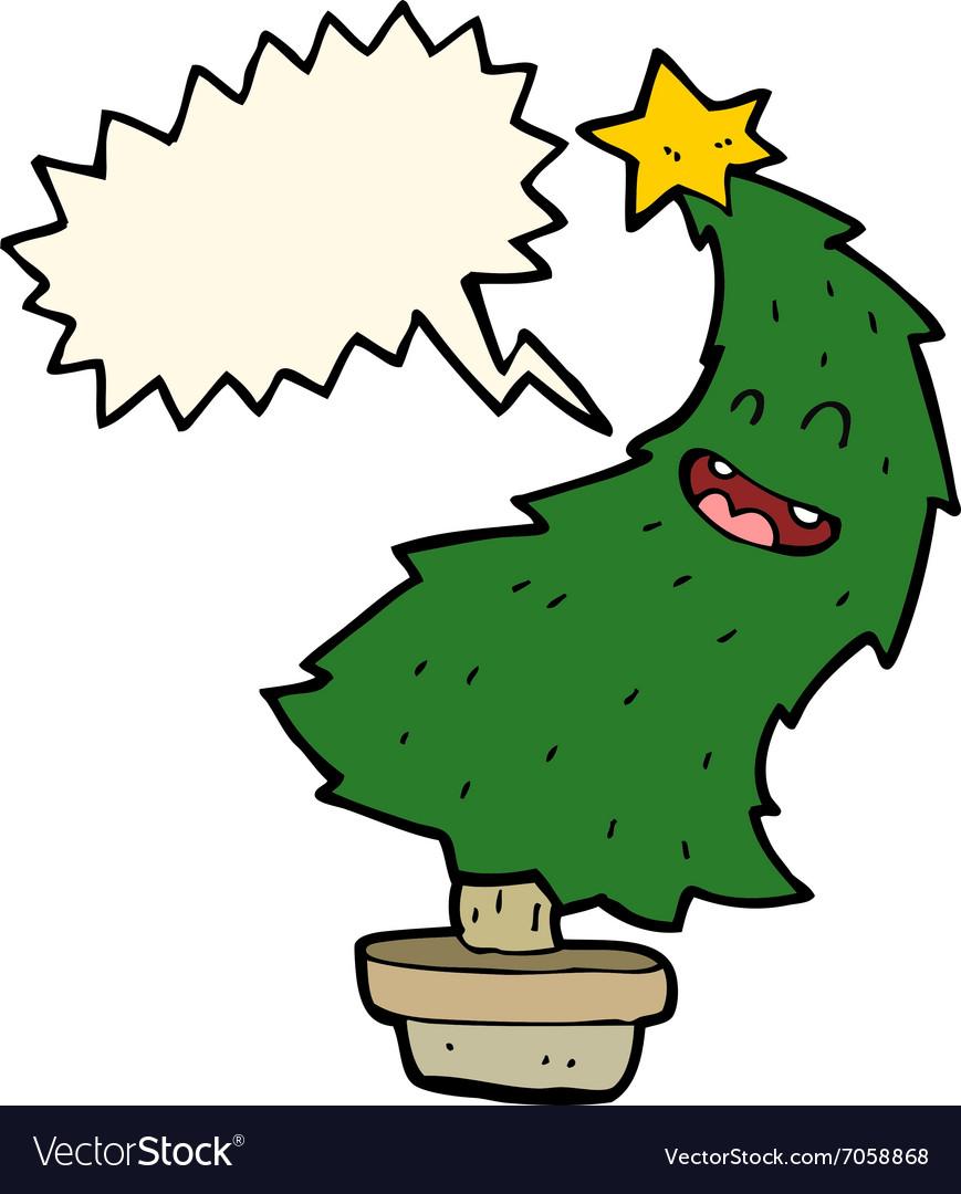 cartoon dancing christmas tree with speech bubble vector image