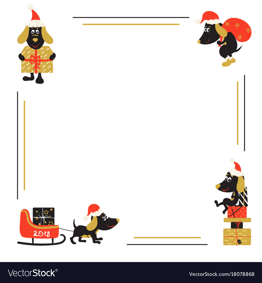 christmas or new year background with cartoon dog vector image