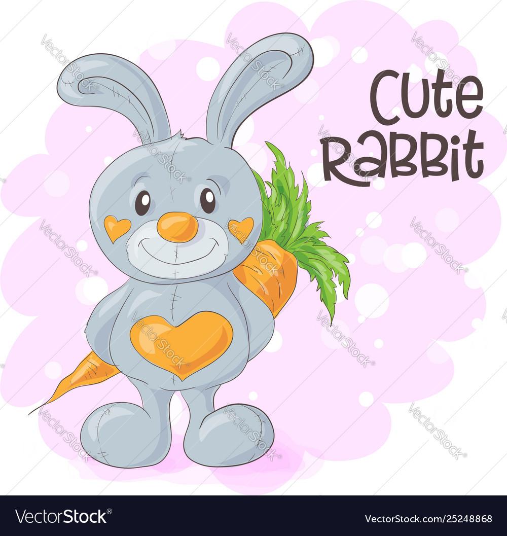 Cute cartoon bunny with a carrot
