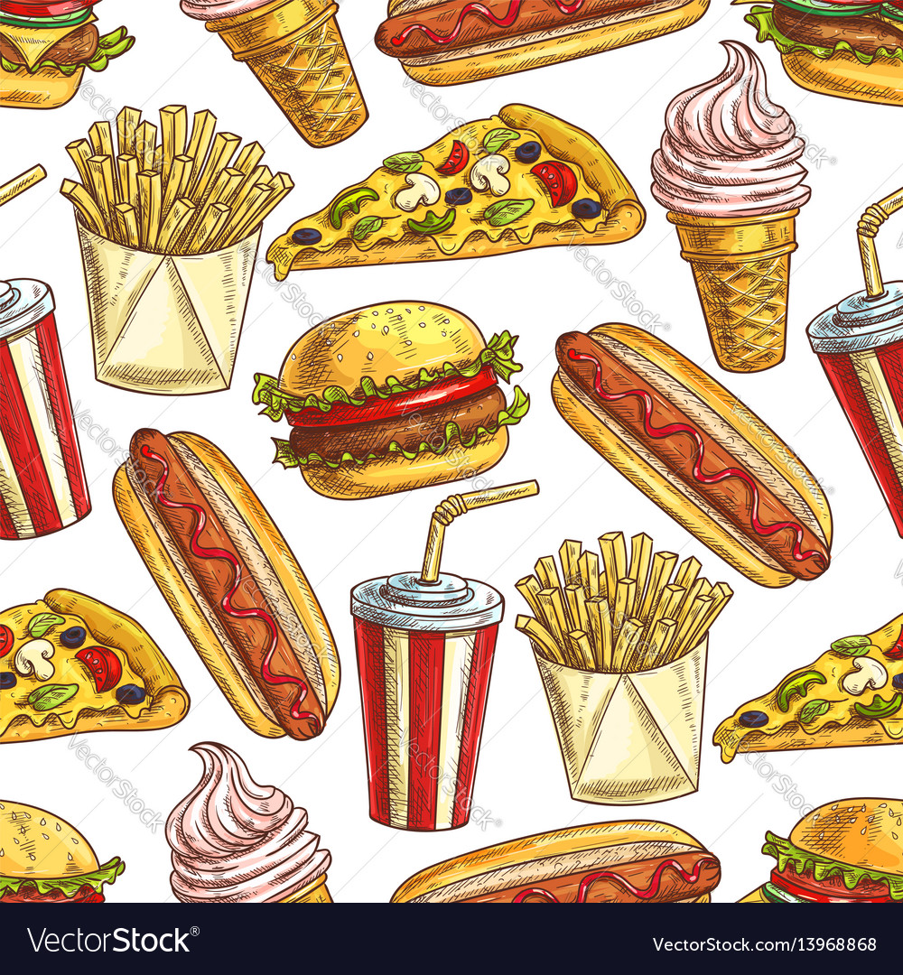 Fast food meal snacks and dessert seamless pattern