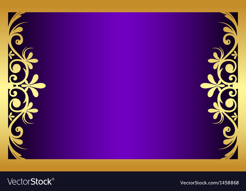 Floral purple and gold frame