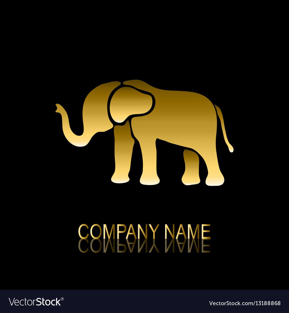 Golden elephant symbol vector image