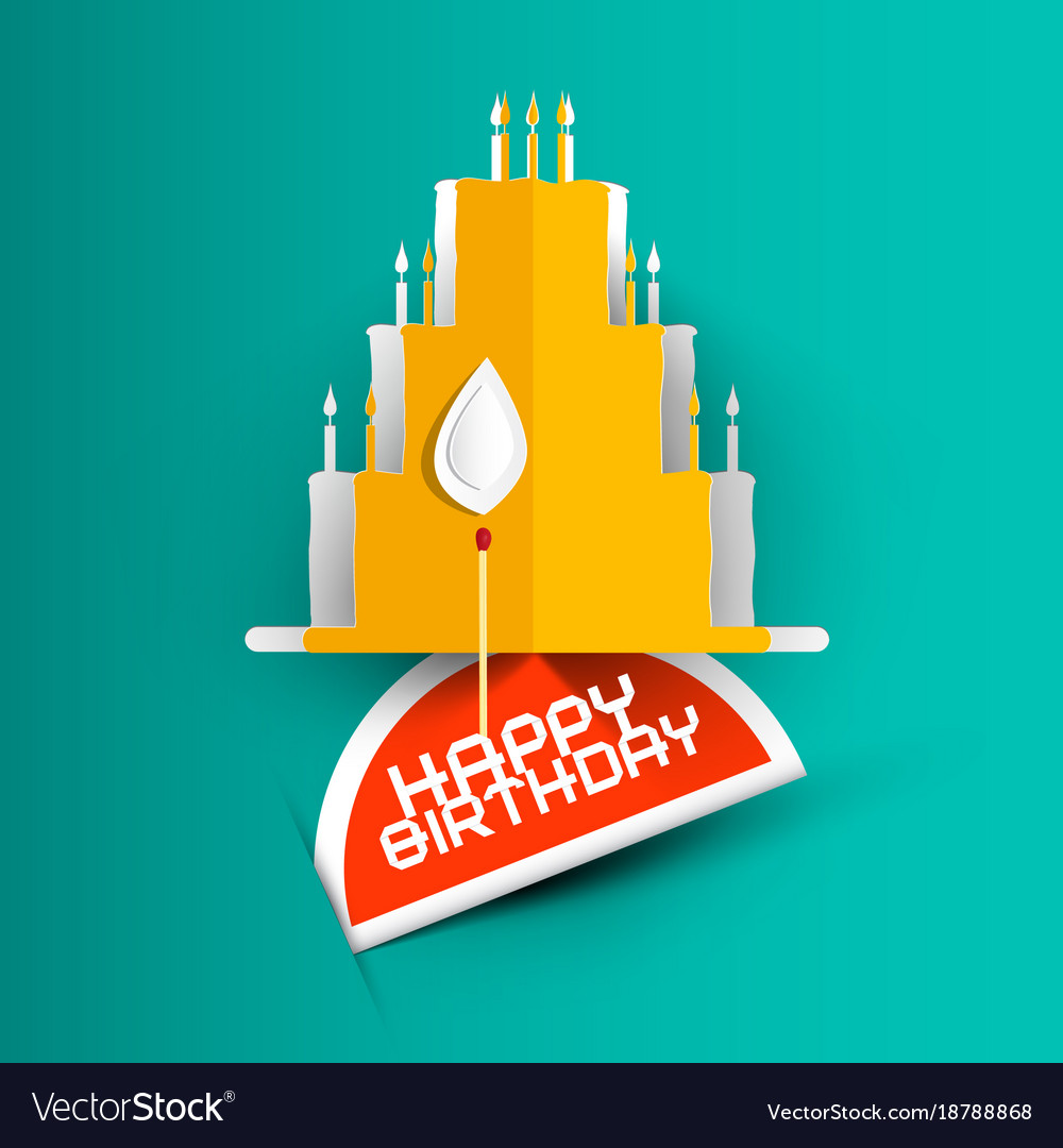 Happy Birthday Card With Paper Cut Cake On Blue Vector Image