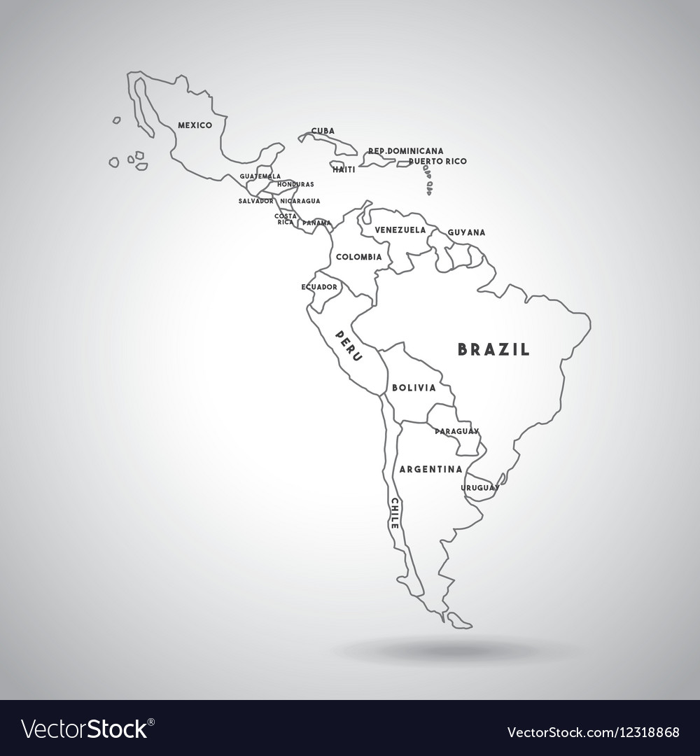 Latin America Map Royalty Free Vector Image Vectorstock