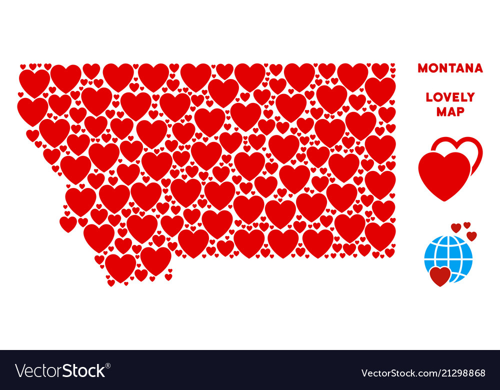 Love montana state map composition of Royalty Free Vector