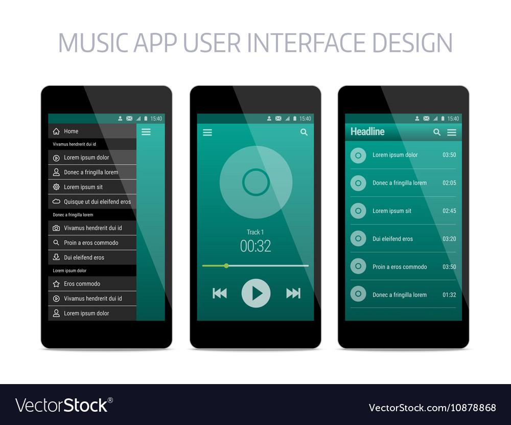 Music modern app user interface design