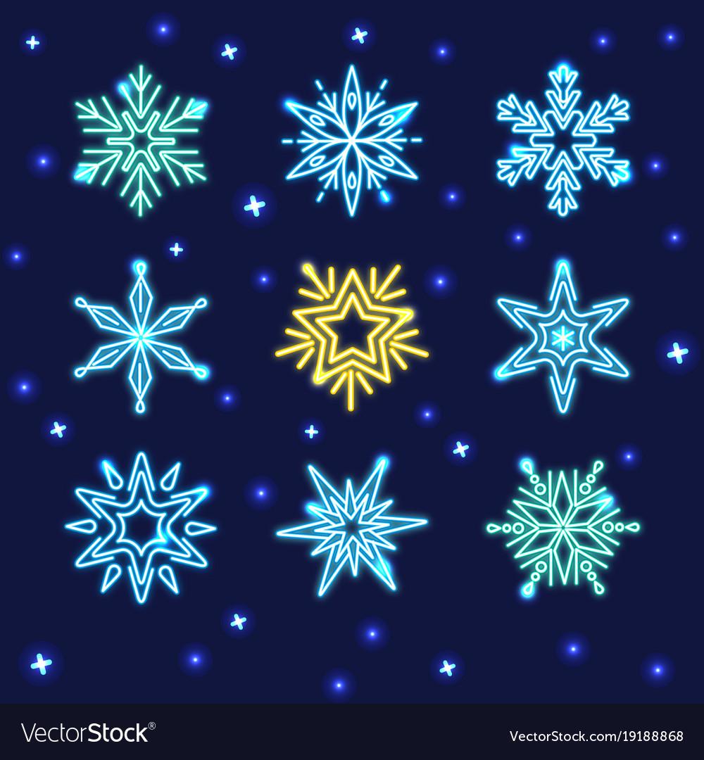 Set neon snowflakes