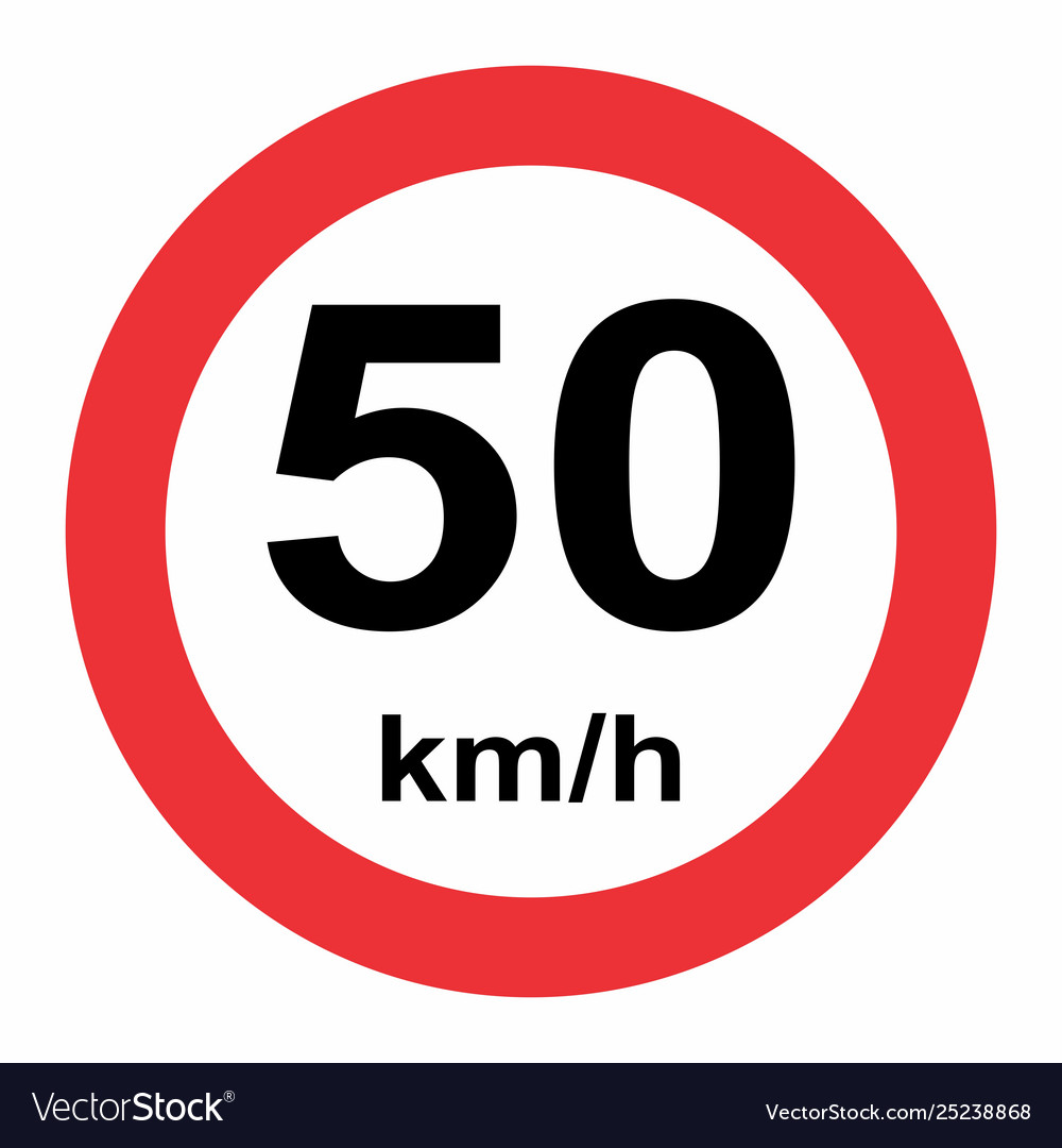 Speed limit 50 kmh traffic sign