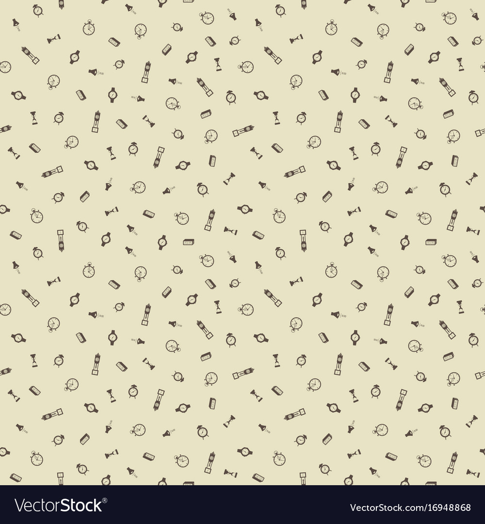 Time hand drawn seamless pattern background
