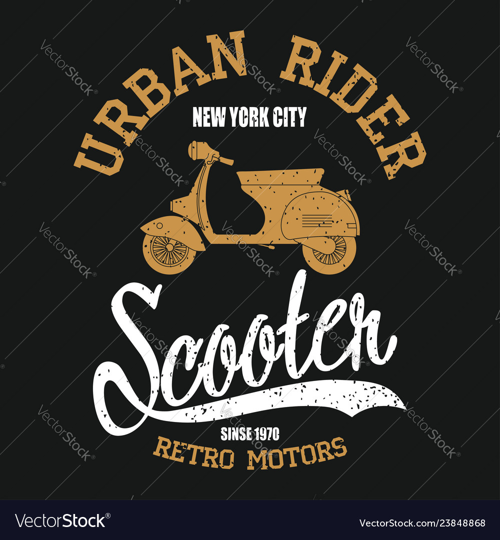 Typography graphic with moped