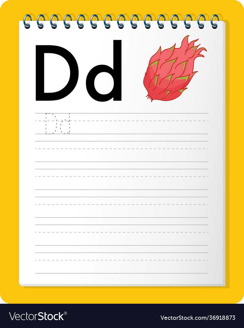 Alphabet tracing worksheet with letter d and d