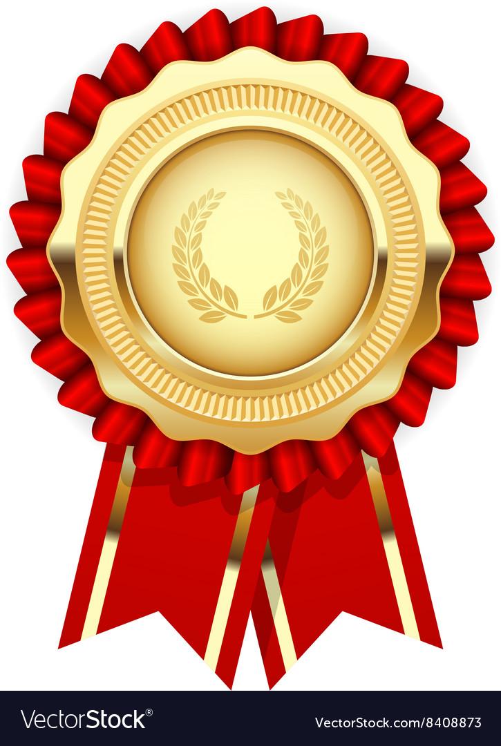 blank award template rosette with golden medal vector image