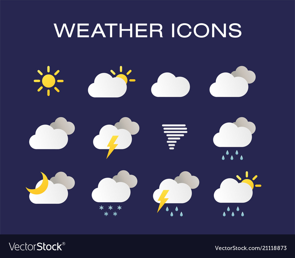 Complete set of modern realistic weather icons