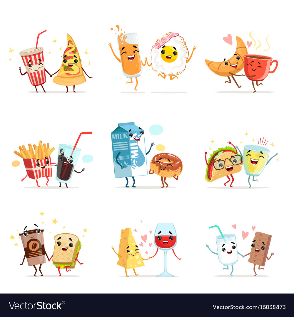 Cute Comic Food Cartoon Characters Best Friends Vector Image