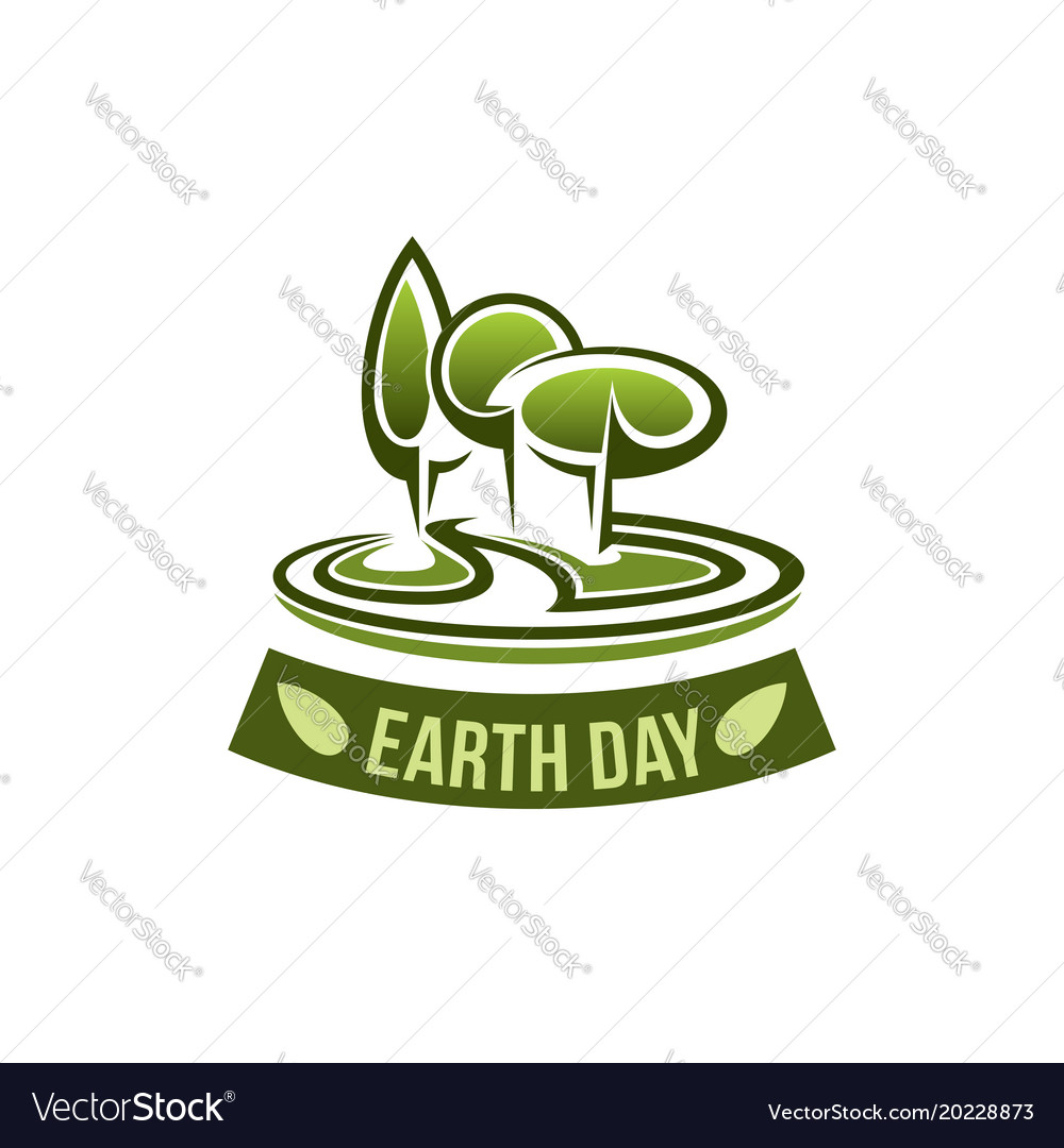 Earth day icon for green nature environment vector image