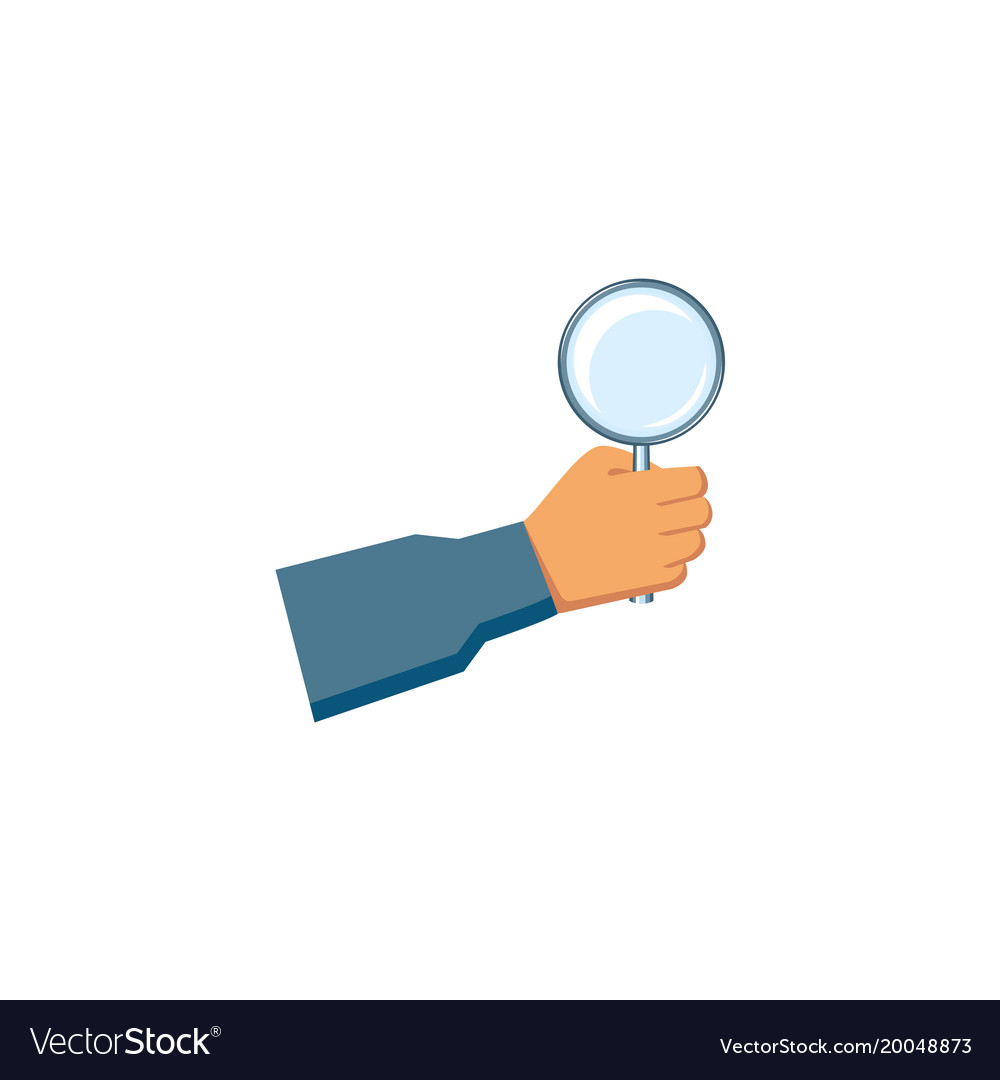 Flat man hand holding magnifier vector image