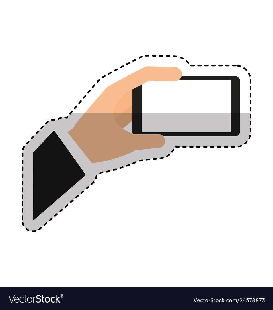 Hand human with smartphone icon