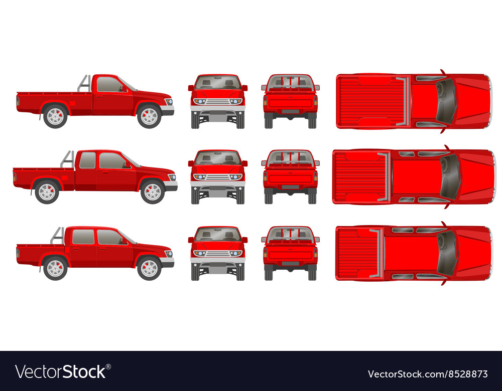 Pickup Truck Car Cabine Types Vector Image
