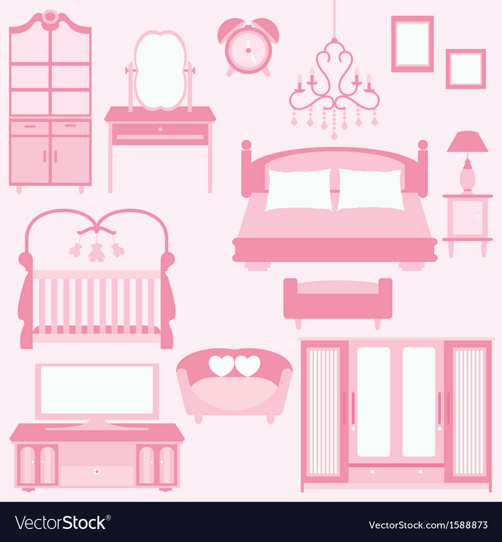 Set Of Furniture In Bedroom Royalty Free Vector Image
