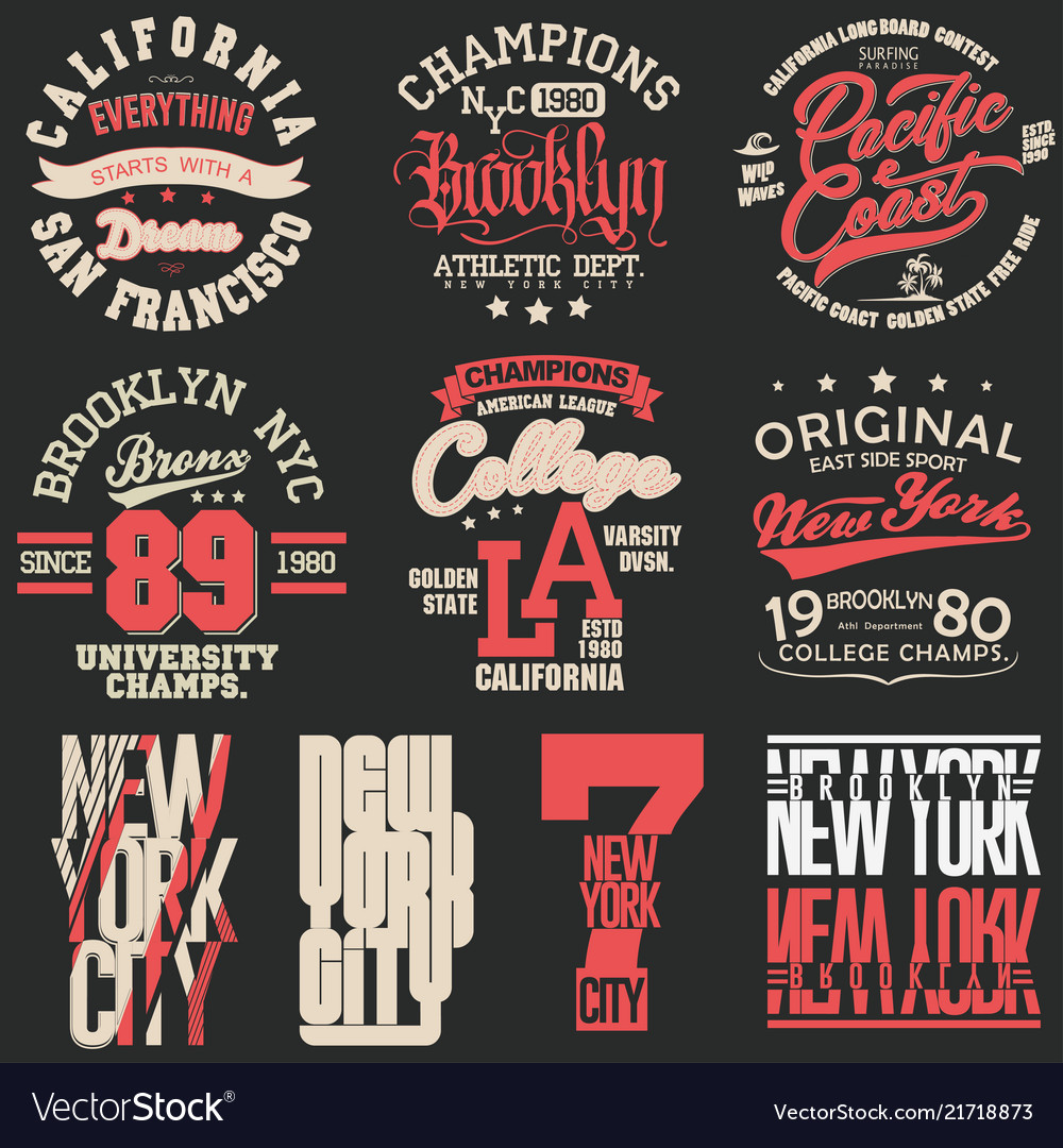 T-shirt stamp graphic set sport wear typography
