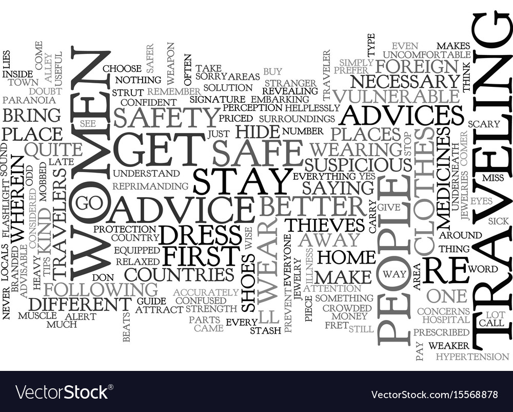 advice for women travelers text word cloud concept