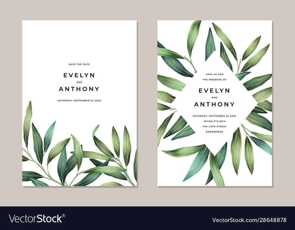 Bright spring leaves wedding invitation