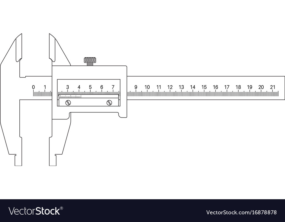 caliper outline drawing royalty free vector image