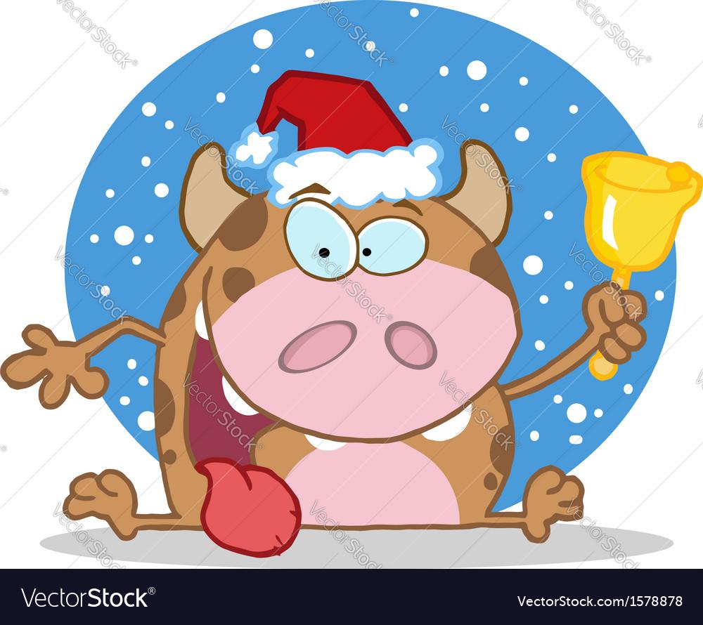 Christmas Cow.Christmas Cow Cartoon