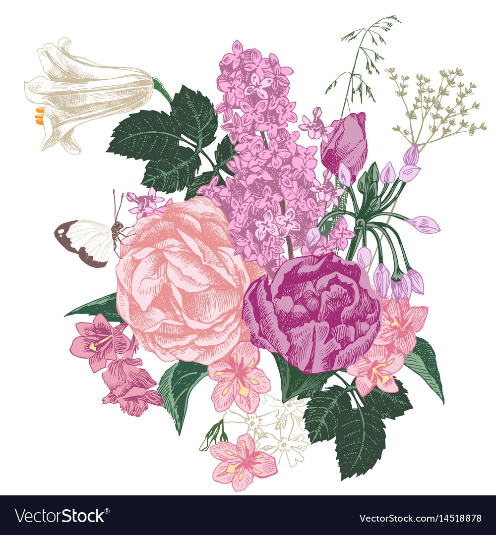 Hand drawn bouquet of spring flowers Royalty Free Vector