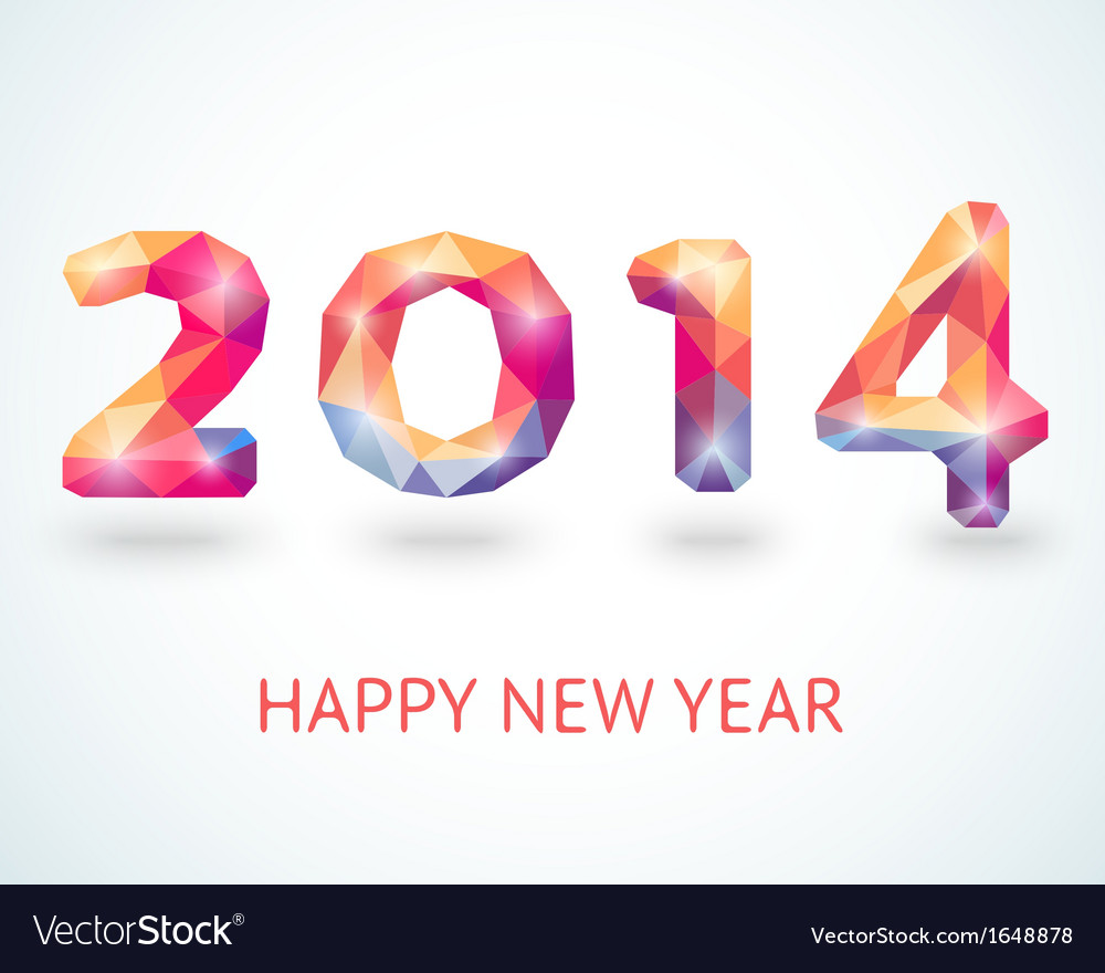 Happy New Year 2014 colorful greeting card
