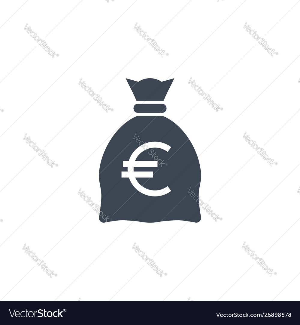 Money bag with euro related glyph icon