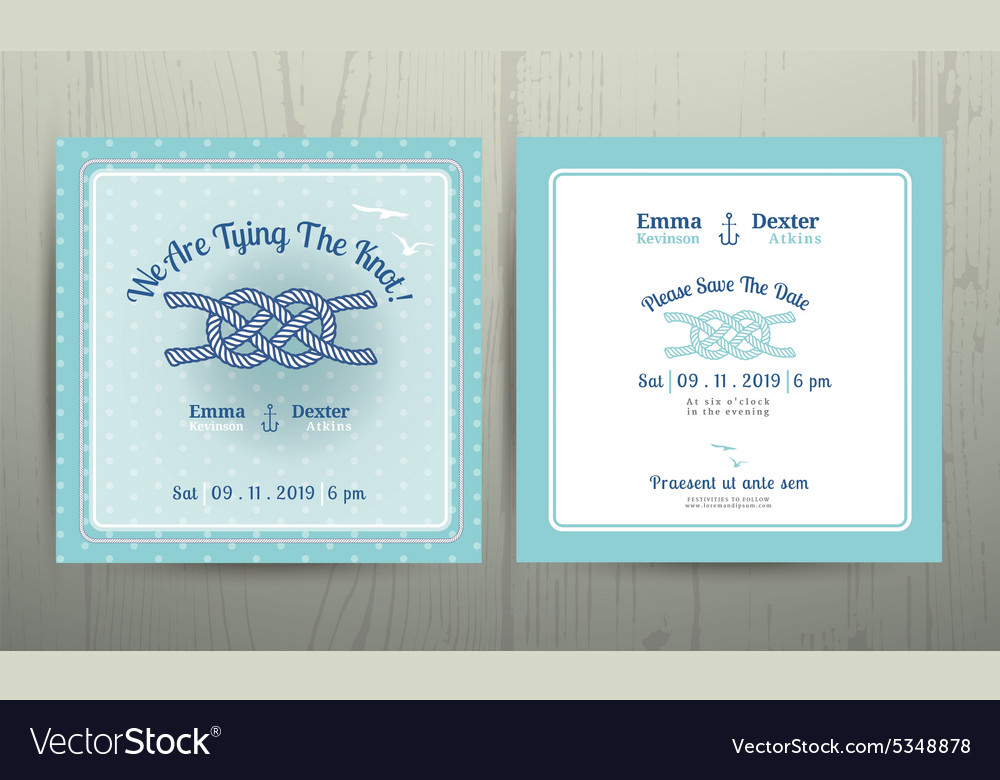 Nautical anchor rope tying the knot wedding card