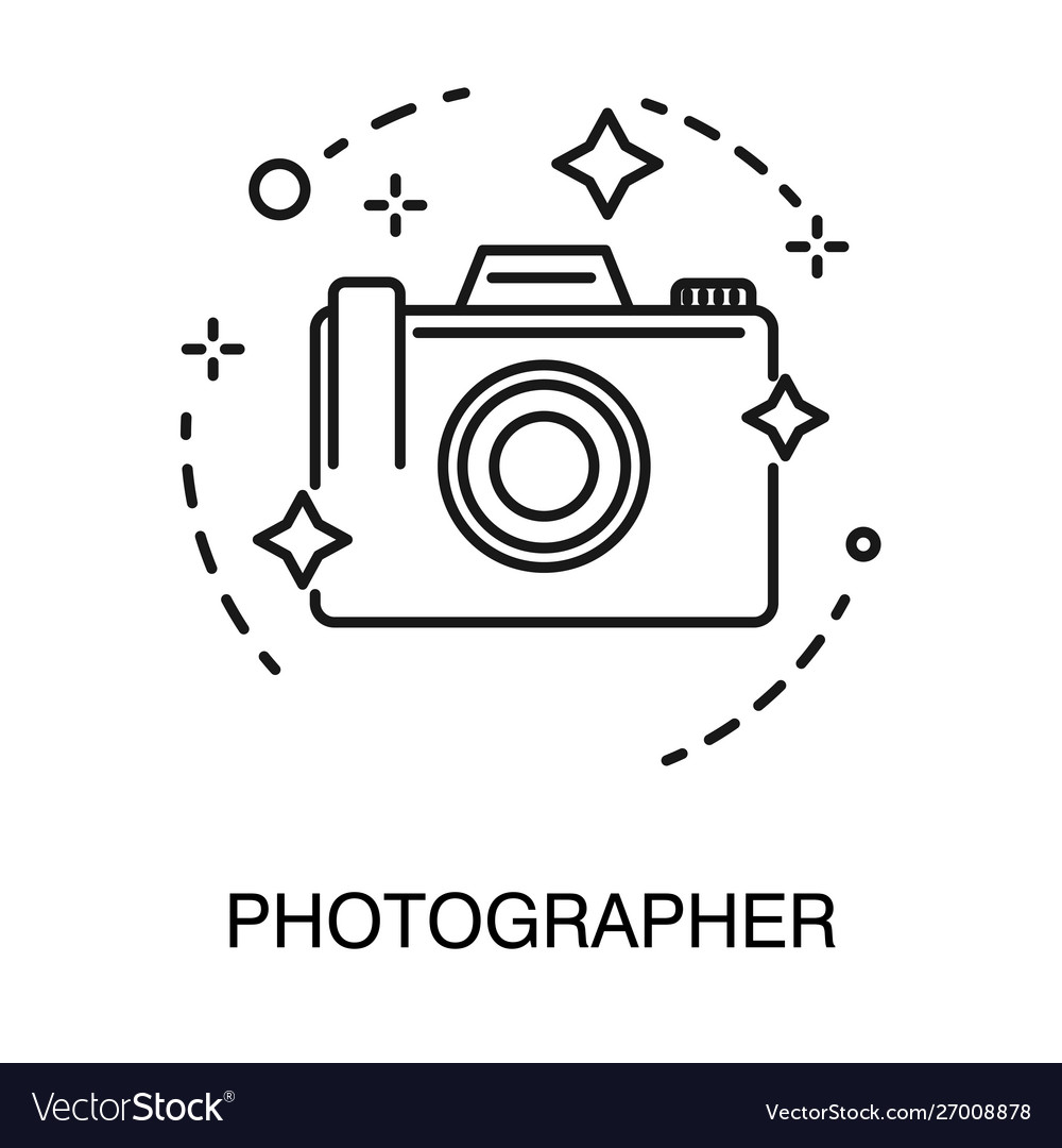 Photo camera isolated outline icon photographer