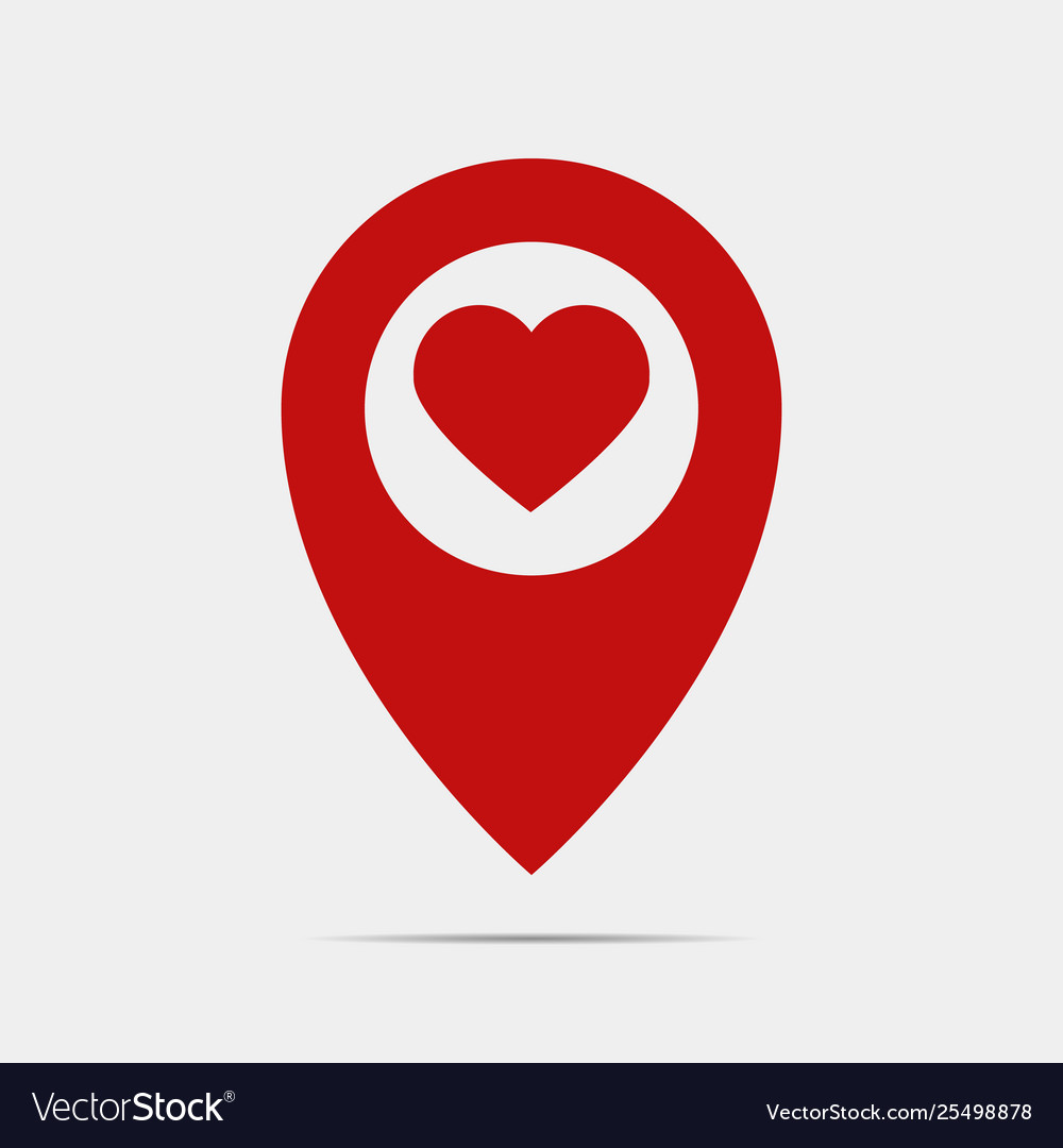 Pointer gps map with heart