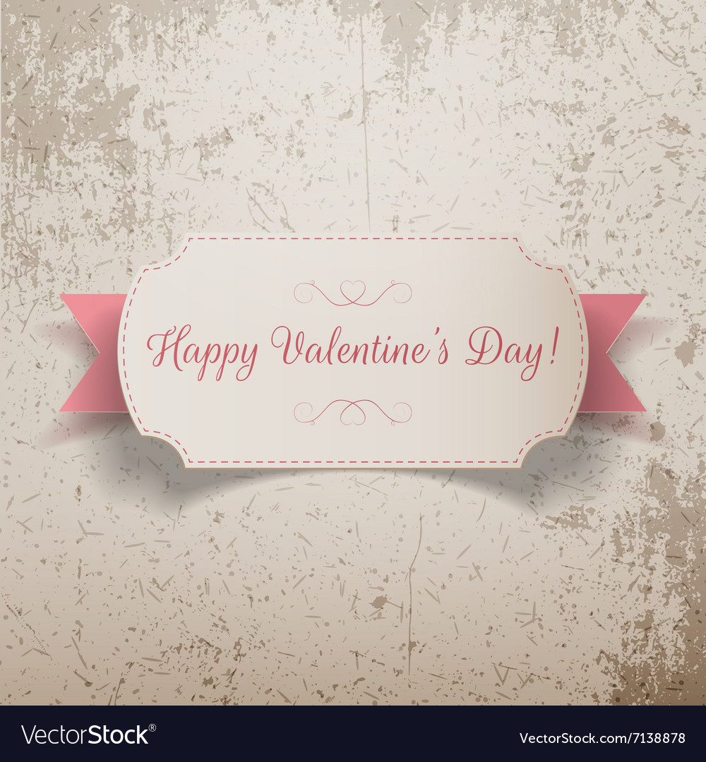 Realistic Valentines Day greeting paper Card