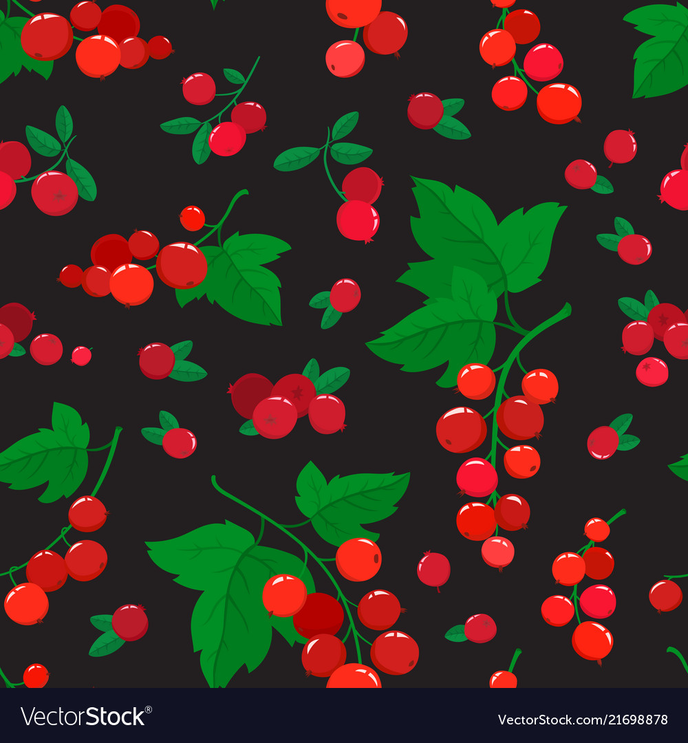 Seamless pattern with cartoon cranberries
