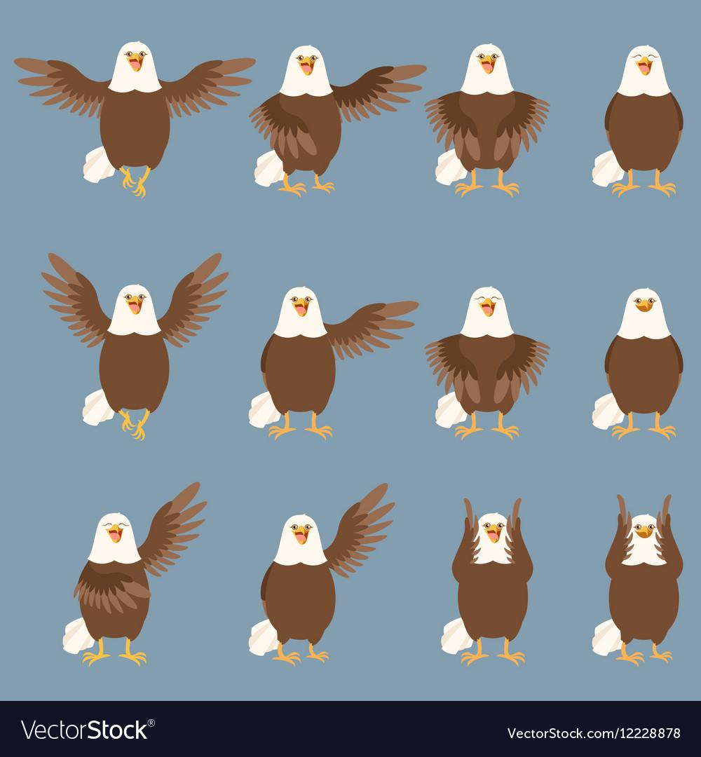 Set flat eagle icons